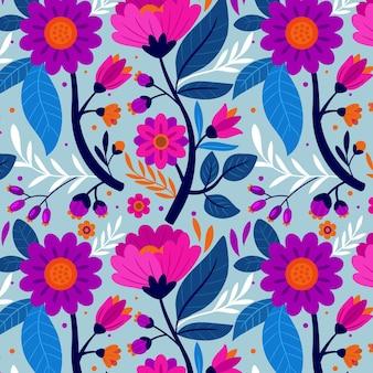 Kleurrijk handgeschilderd exotisch bloemenpatroon