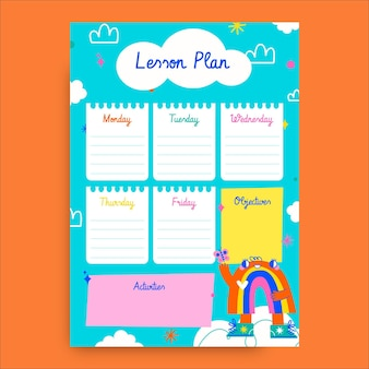 Kleurrijk handgetekend regenbooglesplan voor kinderen