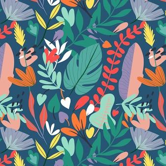 Kleurrijk handgetekende abstracte bladerenpatroon