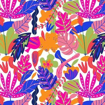 Kleurrijk handgetekende bladerenpatroon