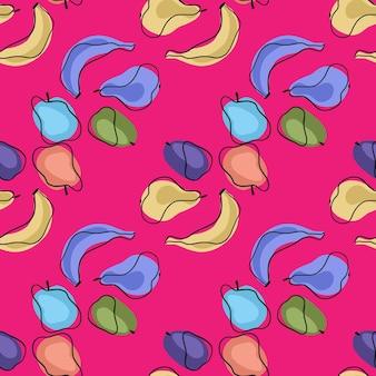 Kleurrijk helder naadloos patroon met het ornament van het krabbelfruit