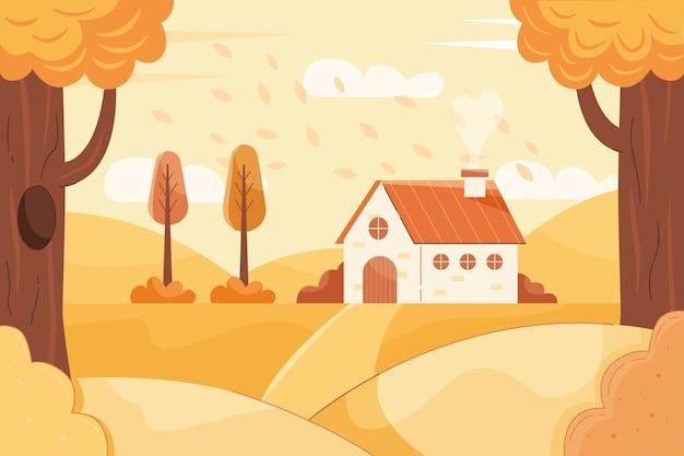 Kleurrijk herfstbehang met landschap