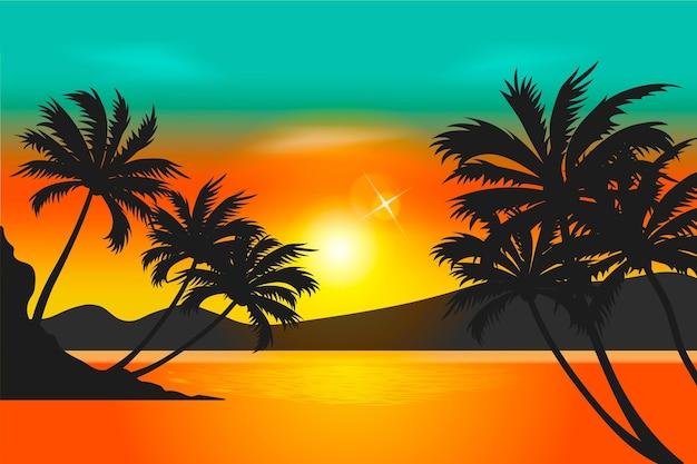 Kleurrijk het behangconcept van palmsilhouetten