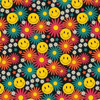 Kleurrijk hip bloemenpatroon