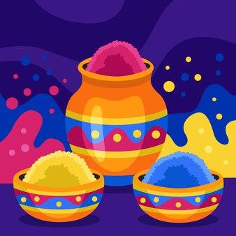 Kleurrijk holi festival gulal concept