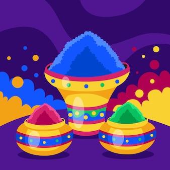 Kleurrijk holi festival gulal