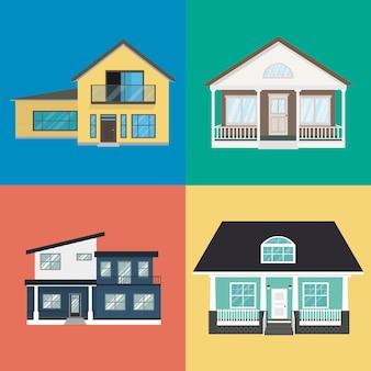 Kleurrijk huis exterieur design collectie in vlakke stijl.