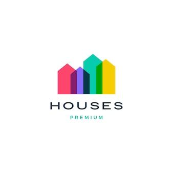 Kleurrijk huis huis hypotheek dak architect logo