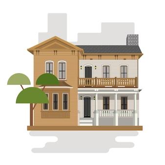 Kleurrijk huis in vlakke stijl