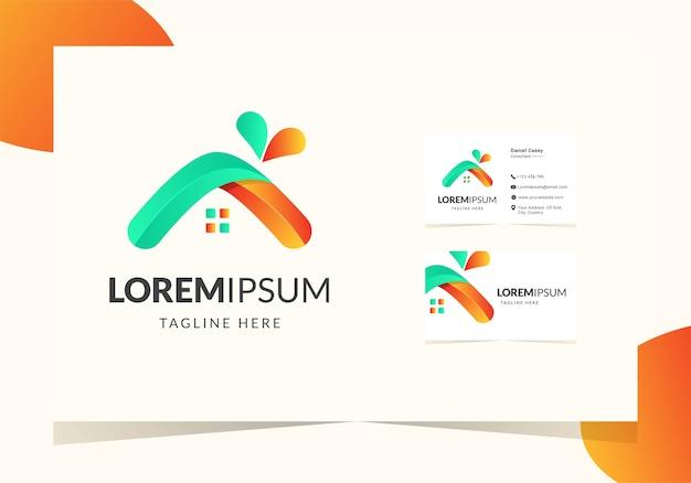 Kleurrijk huis modern logo-ontwerp