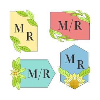 Kleurrijk huwelijk monogram collectie thema