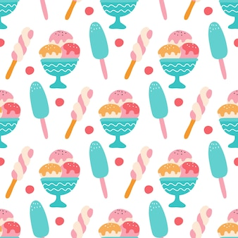 Kleurrijk ijs met bessen op een witte achtergrond vector naadloos patroon