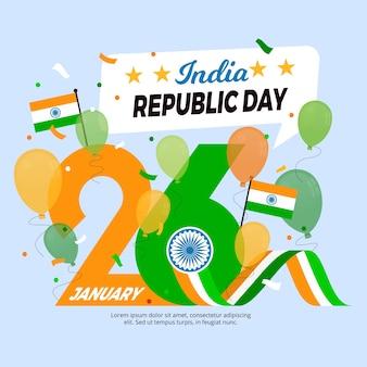 Kleurrijk indisch de dag vlak ontwerp van de republiek