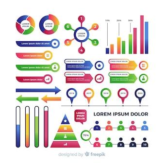 Kleurrijk infographic elementen vlak ontwerp