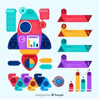Kleurrijk infographic elementenpak