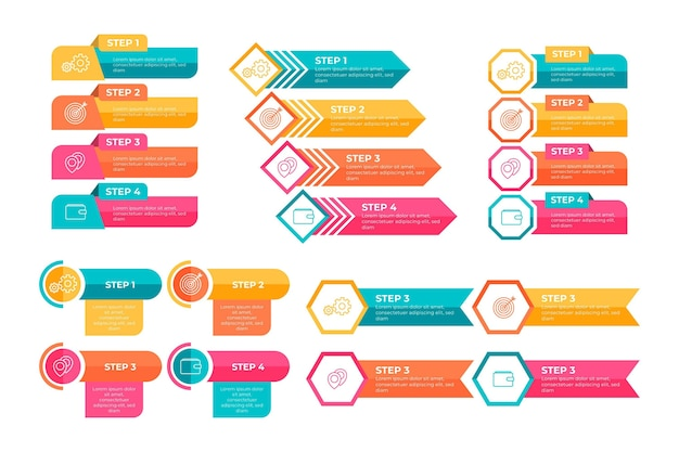 Kleurrijk infographic elementenpakket
