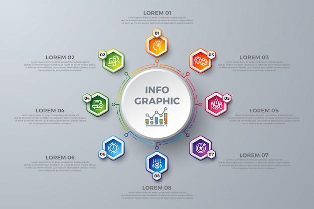 Kleurrijk infographic-malplaatjedesign met 8 proceskeuzen of stappen.