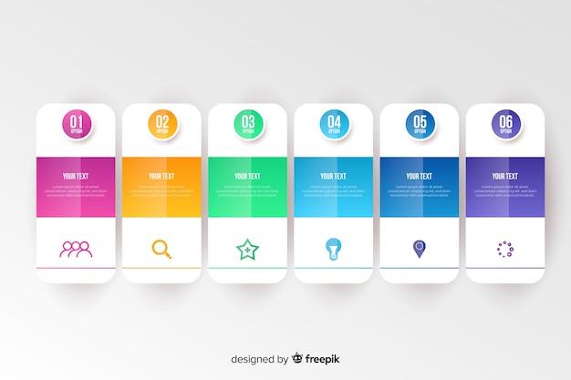 Kleurrijk infographic sjabloon plat ontwerp