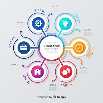 Kleurrijk infographic stappen vlak ontwerp