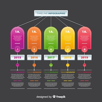Kleurrijk infographic tijdlijn plat ontwerp