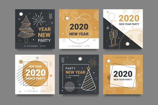 Kleurrijk instagram na 2020 nieuwjaar met schetsen van bomen