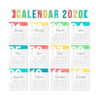 Kleurrijk kalendersjabloon voor 2020