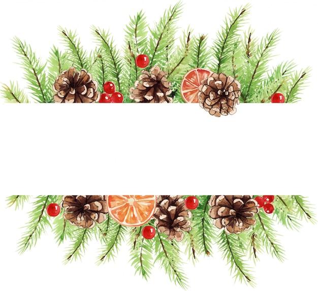 Kleurrijk kerstmiskader met waterverfelementen. poinsettia bloemen, bladeren, kegels.