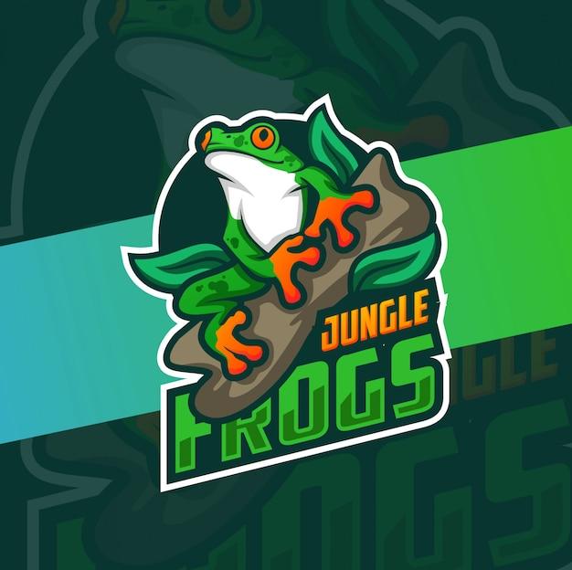 Kleurrijk kikker mascotte logo ontwerp
