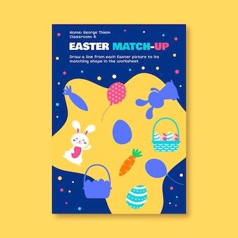 Kleurrijk, kinderlijk match-up-werkblad voor pasen