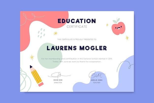 Kleurrijk kinderlijk onderwijscertificaat