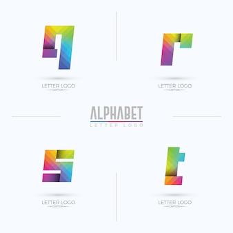 Kleurrijk kleurverloop korrelig origami-stijl qrst-letterlogo