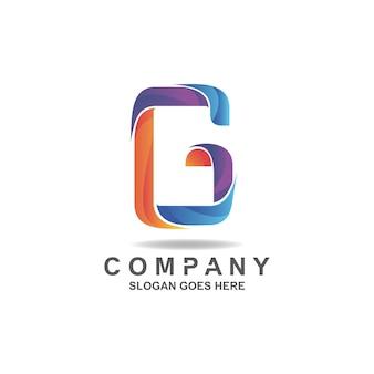 Kleurrijk kleurverloop letter g-logo