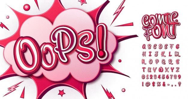 Kleurrijk komisch lettertype. cartoon roze alfabet in pop-artstijl