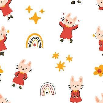 Kleurrijk konijntje karakter naadloos patroon