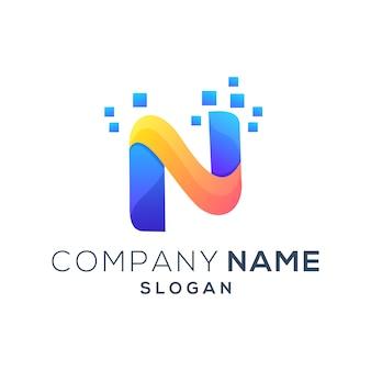 Kleurrijk letter n modern logo
