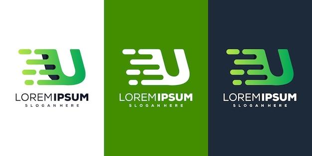 Kleurrijk letter u tech logo-ontwerp