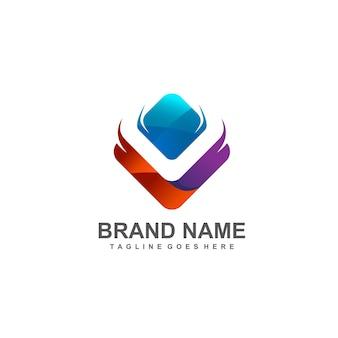 Kleurrijk letter v-logo