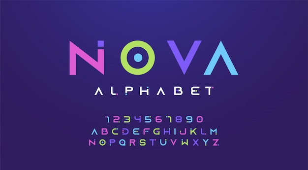 Kleurrijk letters en getallen lettertype. kleur alfabet