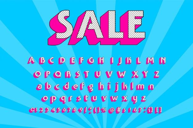 Kleurrijk lettertype moderne typografie. 3d alfabet schuin zonder serif stijl voor feestaffiche, promotie, kinderboek