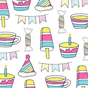 Kleurrijk lineart-verjaardagspatroon