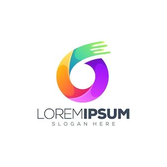 Kleurrijk logo met 6 nummer en slogan sjabloon