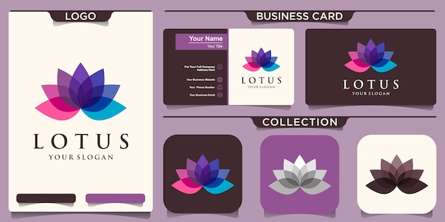 Kleurrijk lotus-bloemembleem en visitekaartjeontwerp.