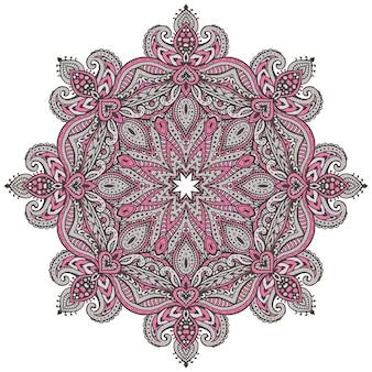 Kleurrijk mandalapatroon van henna bloemenelementen op basis van traditionele aziatische ornamenten.