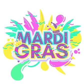 Kleurrijk mardi gras festival met letters
