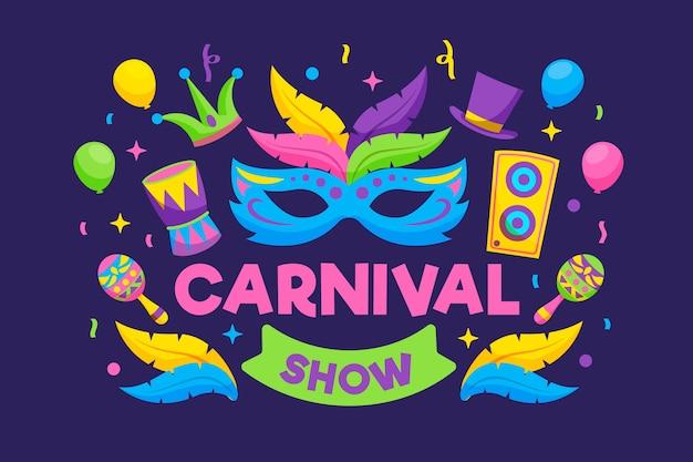 Kleurrijk masker met veren en muziek gelukkig festival