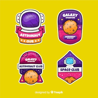 Kleurrijk meisjesachtig astronomisch stickerspakket