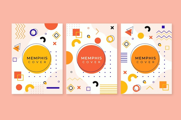 Kleurrijk memphis-design omslagpakket