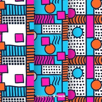 Kleurrijk memphis patroonpakket