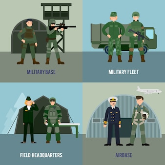 Kleurrijk militair vierkant concept