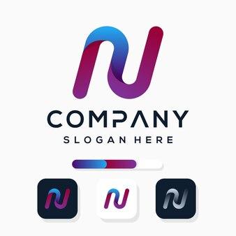 Kleurrijk modern letter n logo-ontwerp